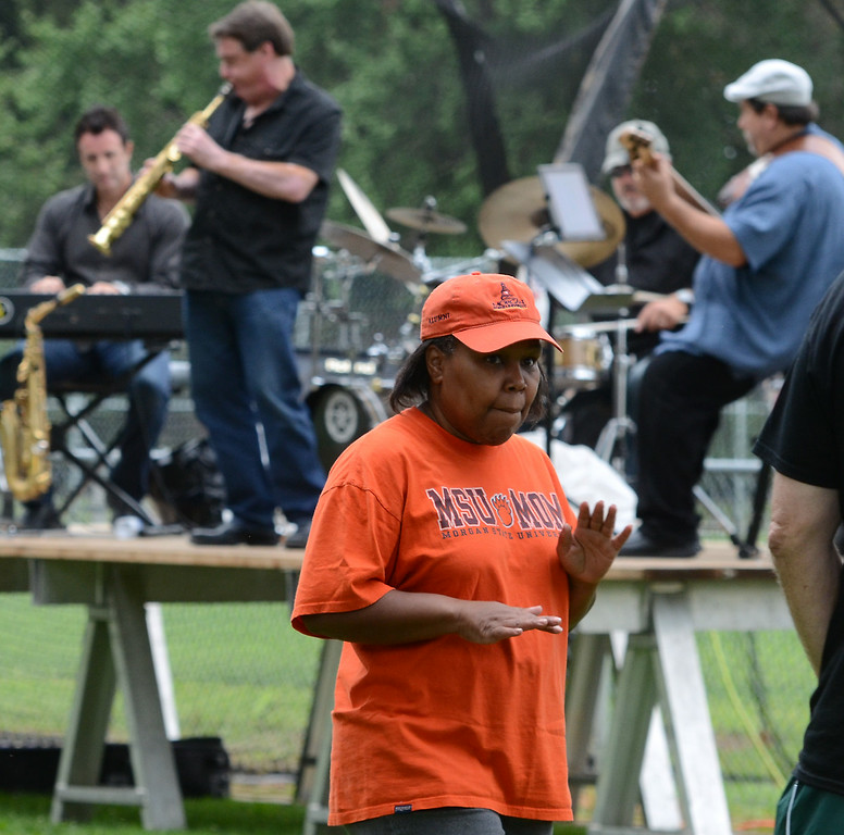 Description of . Members of the Montgomery County Concert Band perform during the 26th Annual Lansdale Festival of the Arts in Memorial Park on Saturday August 23,2014. Photo by Mark C Psoras/The Reporter