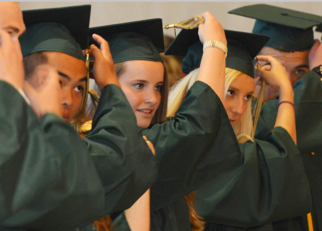 Description of . New Lansdale Catholic high school graduates move their tassels during commencement ceremony.  Tuesday,  June 3, 2014.  Photo by Geoff Patton