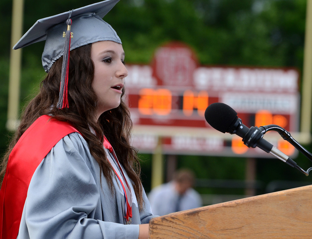 Description of . Upper Dublin High School Class of 2014 member Jenna Mandel gives the Greeting  during their Commencement Ceremony at the school on Tuesday evening June 10,2014. Photo by Mark C Psoras/The Reporter