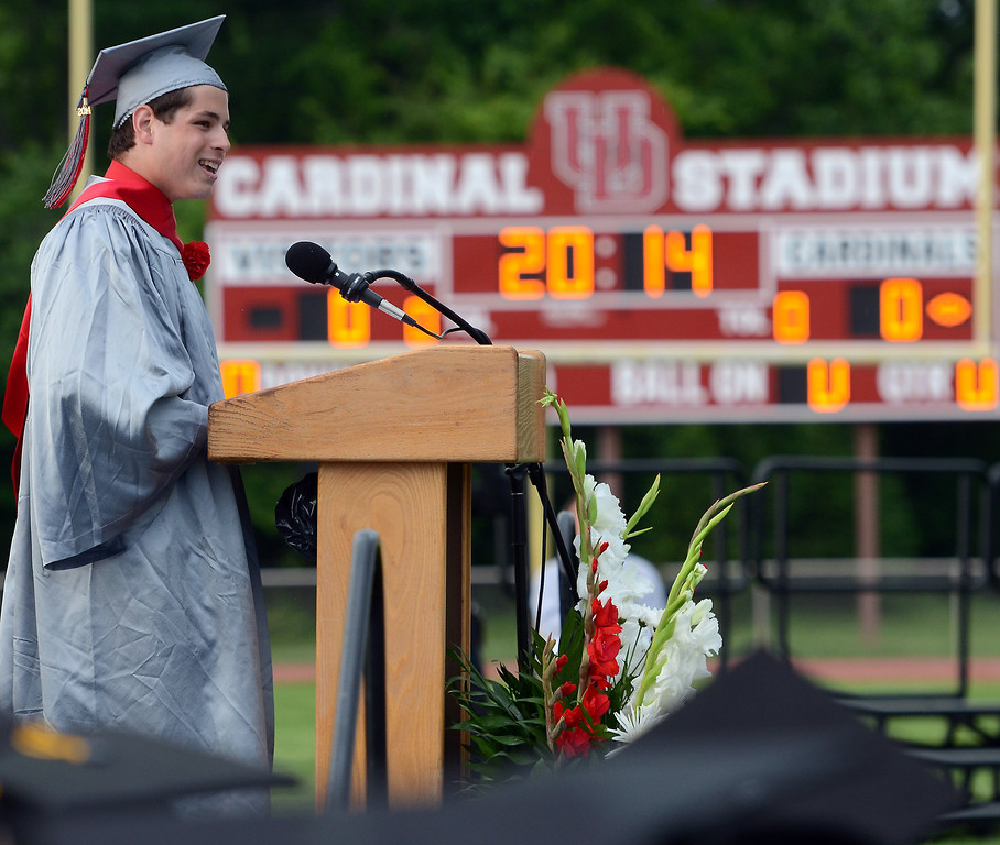 Description of . Upper Dublin High School Class of 2014 Valedictorian Ian Snyder speaks during their Commencement Ceremony at the school on Tuesday evening June 10,2014. Photo by Mark C Psoras/The Reporter