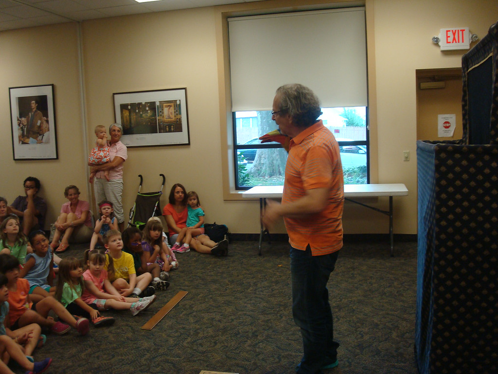 Description of . Puppet Show at the North Wales Library.  Photo by Maggie Wurst