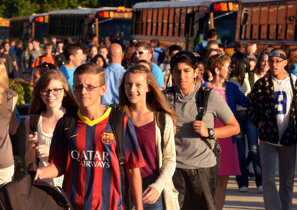 Description of . First day of school at Souderton Area High School.     Monday, August 25, 2015.   Photo by Geoff Patton