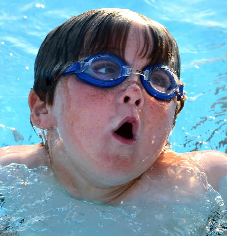 Description of . Hatfield swimmer Max Brodsky 5, competes in a breast stroke event  during the teams  meet against Harleysville  at the Harleysville Community Pool on Thursday July 17,2014.Photo by Mark C Psoras/The Reporter