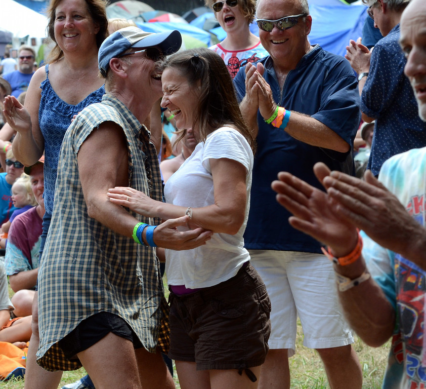 Description of . Audience members dance as Natalie MacMaster performs during an afternoon concert at the 53rd Annual Philadelphia Folk Festival on Sunday August 17,2014. Photo by Mark C Psoras/The Reporter