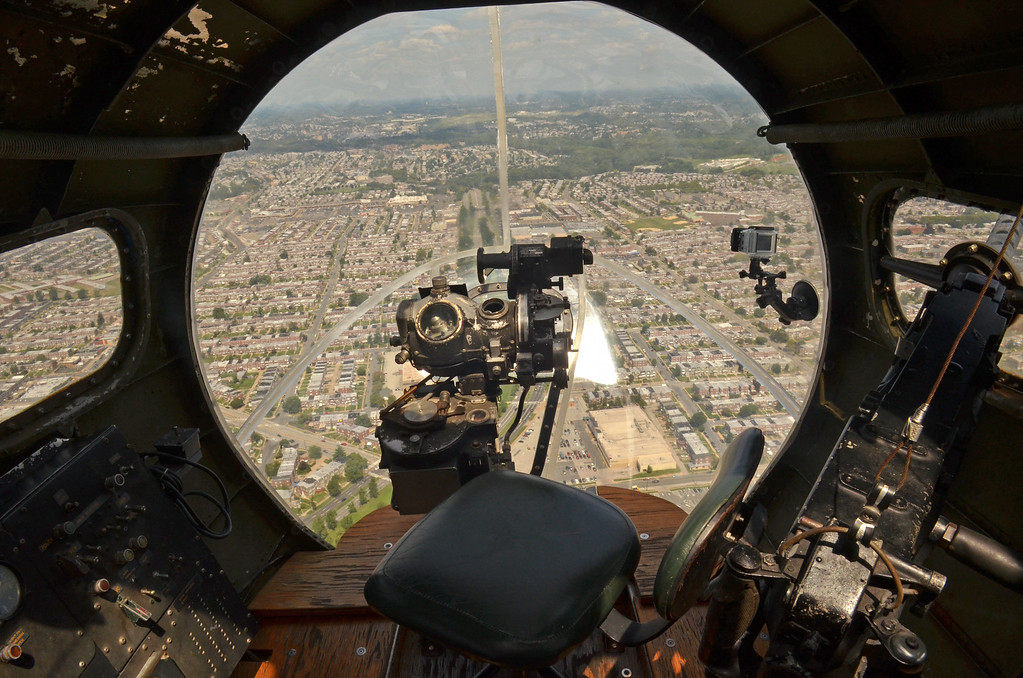 Description of . An in-flight view of the bombardier's station on the Memphis Belle.   (The Reporter/Geoff Patton)