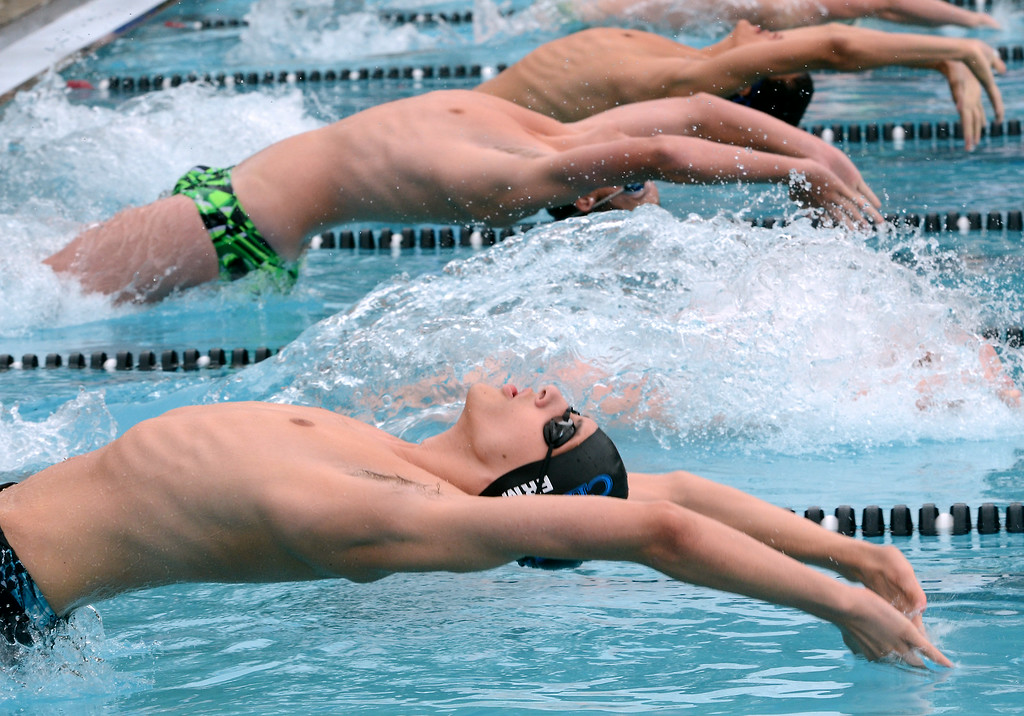 Description of . Fanny Chapman swimmer Matthew Ermel and competitors launch in a boys 15 and over backstroke event during the Bux-Mont Swim League A Championships at the Souderton Community Pool on Saturday August 2,2014. Photo by Mark C Psoras/The Reporter
