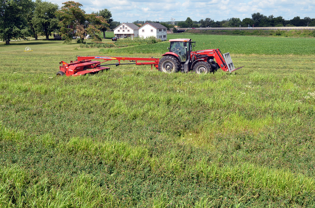 Description of . Farmer Drew Bechtel cuts a field of clover in Lower Salford Township.  It will be bailed and fed to the cows, he said.    Monday, August 4, 2014.   Photo by Geoff Patton