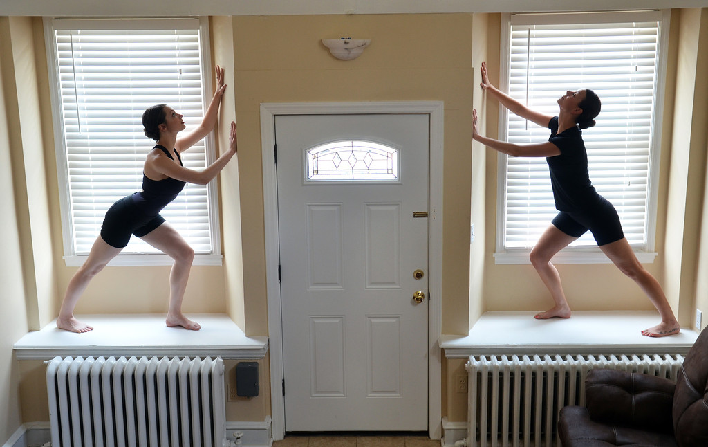 Description of . Sarena Kabakoff, left, and Brittany Lynch rehearse a sequence from Home Dance.   Friday,  June 13, 2014.   Photo by Geoff Patton