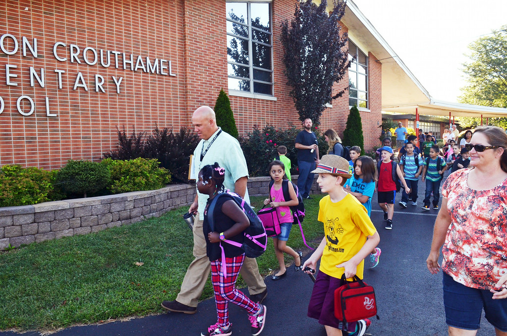 Description of . First day of school at EM Crouthamel Elementary  in Souderton.   Monday, August 25, 2015.   Photo by Geoff Patton