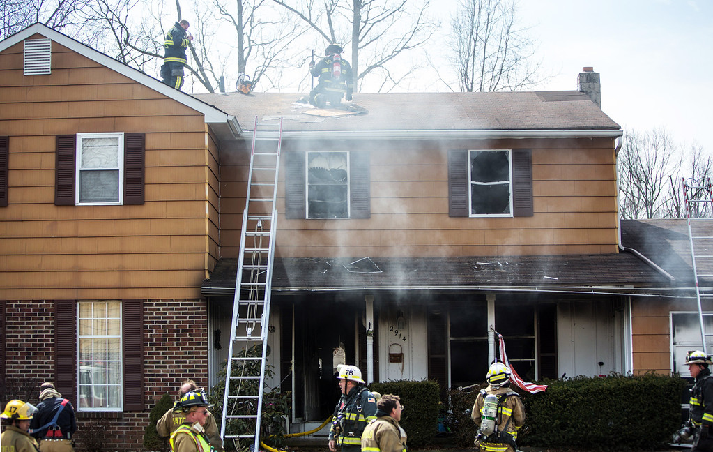 Description of . House fire on Adams Avenue in Hatfield Township.  Thursday, March 27, 2014.  Photo submitted by Rob Eberle