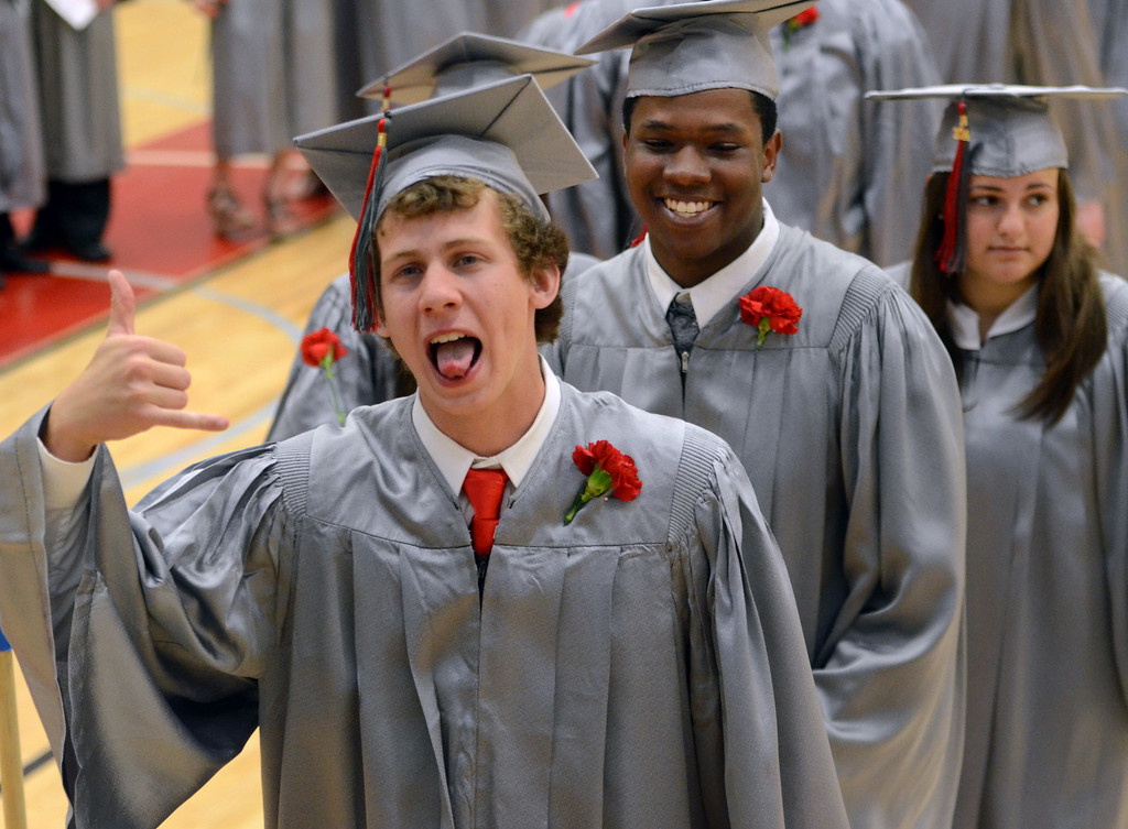. Upper Dublin High School Class of 2014 members line up in the gym before the start of  their Commencement Ceremony at the school on Tuesday evening June 10,2014. Photo by Mark C Psoras/The Reporter