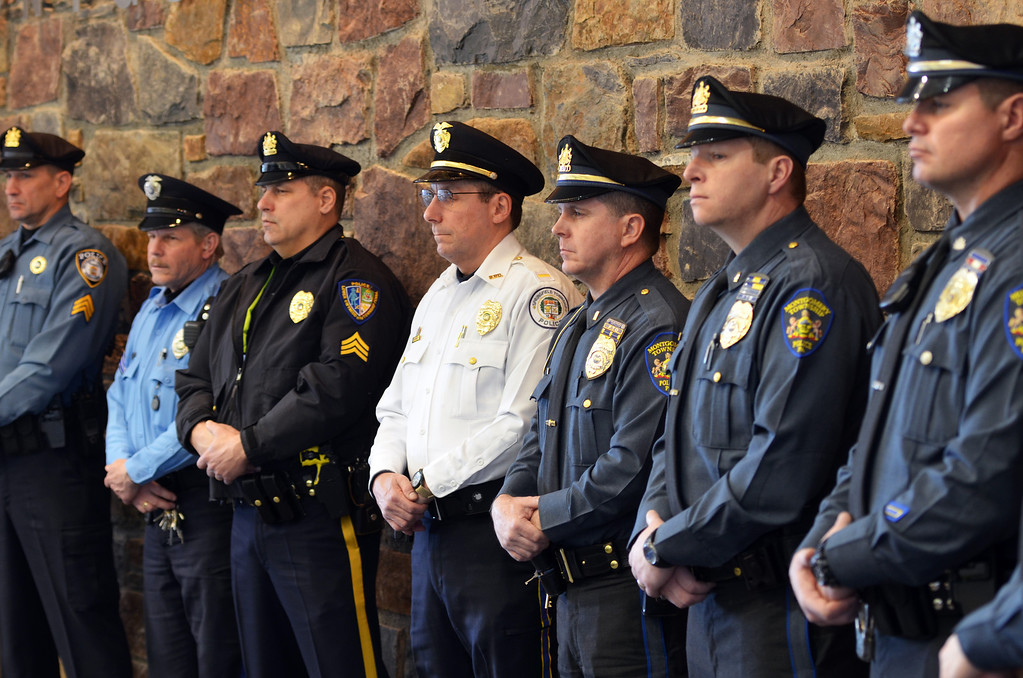 . Area police officers attend a press conference to kick off a statewide aggressive-driving campaign that kicked off Monday and runs from March 24 through May 4, and will target motorists exhibiting aggressive-driving behaviors such as running red lights, speeding and tailgating.