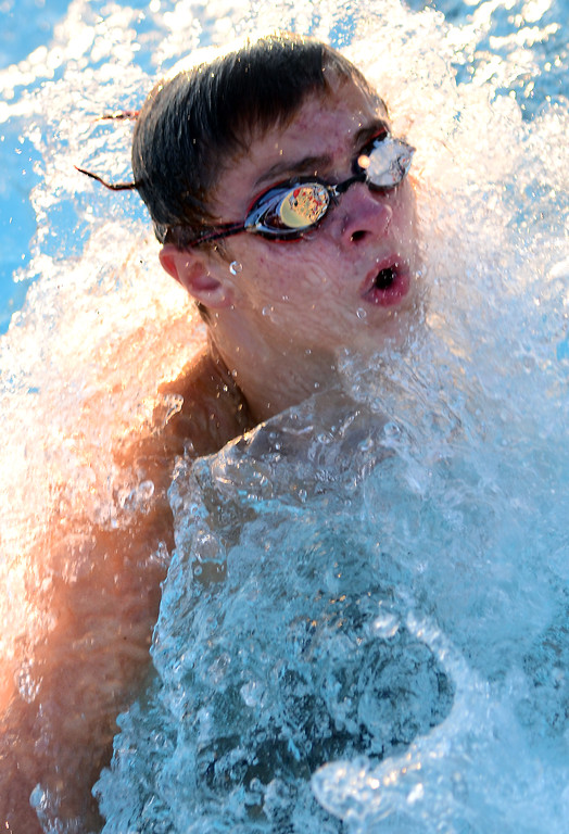 . Harleysville swimmer Ryan Witolawski makes his turn as he competes against Hatfield in a senior boys breast stroke event during their meet  at the Harleysville Community Pool on Thursday July 17,2014.Photo by Mark C Psoras/The Reporter