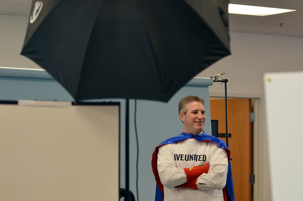 . State Representative Todd Stephens  during a shoot for the North Penn United Way\'s third annual Superheroes United for Kids event.   Finished photographs are used in promotion and will be  displayed during the event in April.   Friday, January 24, 2014.  Photo by Geoff Patton