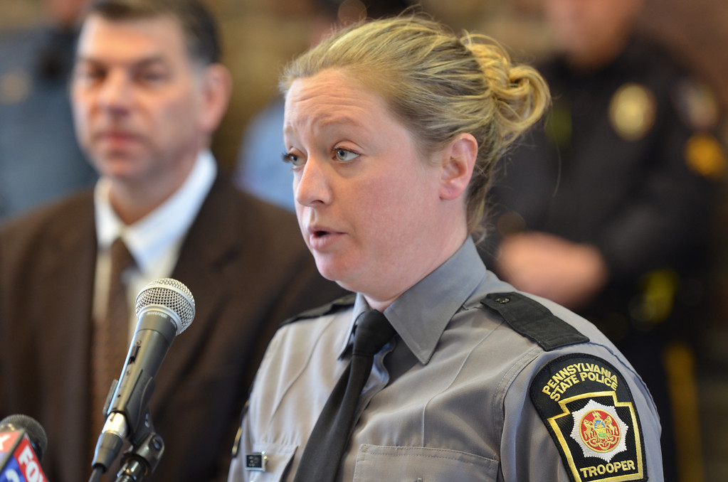 . Pennsylvania State Police trooper Morgan Crummy speaks at a news conference held at the kick off of a statewide aggressive-driving campaign that runs from March 24 through May 4, and will target motorists exhibiting aggressive-driving behaviors such as running red lights, speeding and tailgating.   Monday,  March 24, 2014.   Photo by Geoff Patton