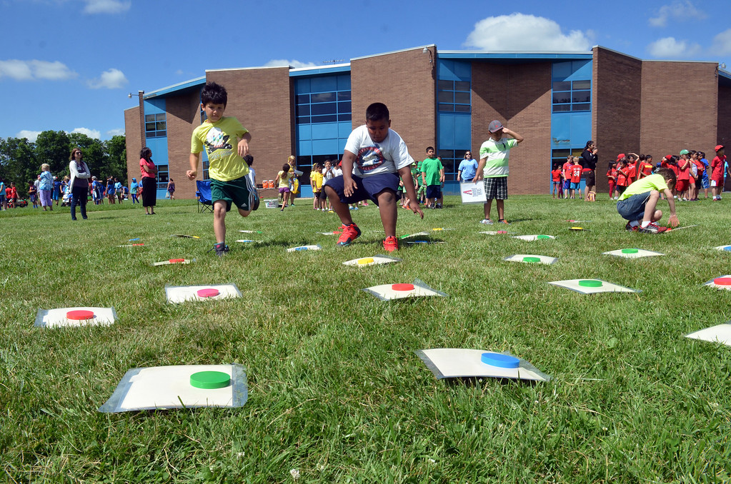 . Second grade students compete in a memory game  during  Olympics Day at Hatfield Elementary School.   Friday,  June 6, 2014.   Photo by Geoff Patton