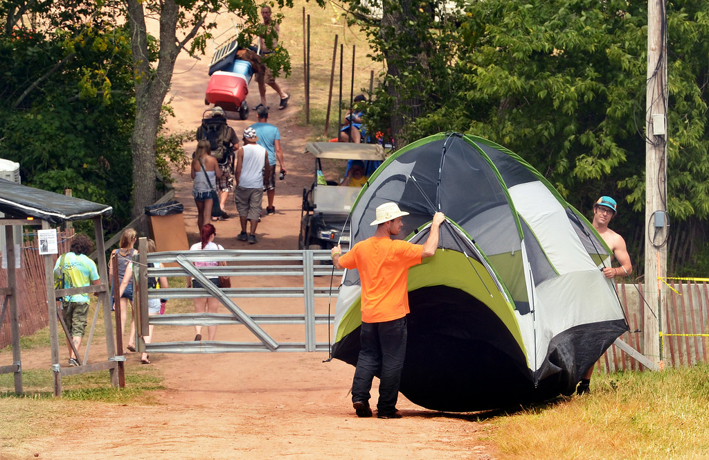 . Campers move in to the Philadelphia Folk Festival.   Thursday, August 14, 2014.   Photo by Geoff Patton