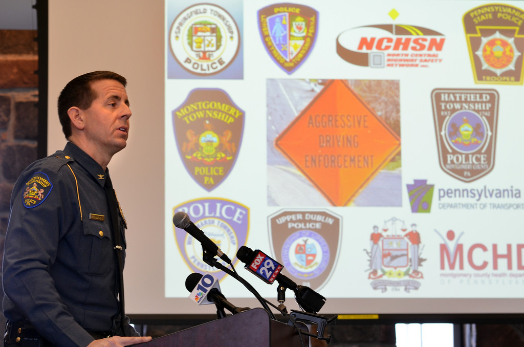 . Montgomery Township police chief Scott Bendig speaks at a news conference held at the kic koff of a statewide aggressive-driving campaign that runs from March 24 through May 4, and will target motorists exhibiting aggressive-driving behaviors such as running red lights, speeding and tailgating.   Monday,  March 24, 2014.   Photo by Geoff Patton