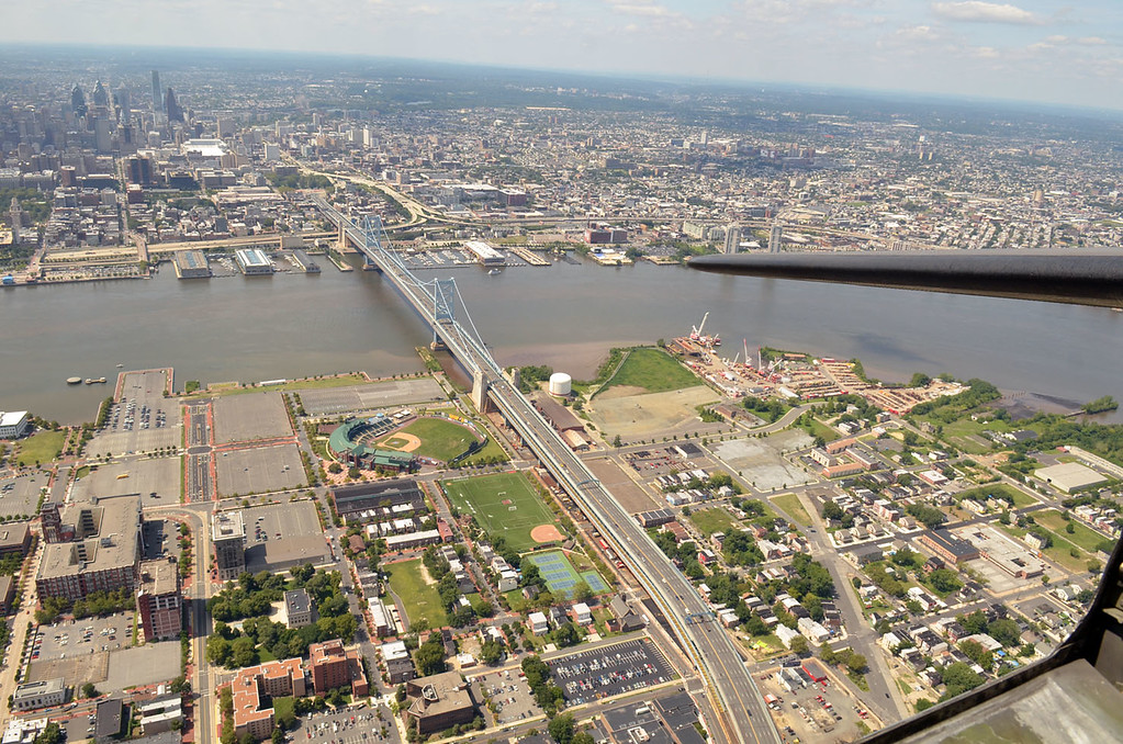 ". The view from the ""Memphis Belle\"" over the Philadelphia and Camden waterfront.     Monday, August 18, 2014.   Photo by Geoff Patton"